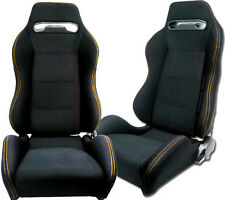 NEW 1 PAIR BLACK CLOTH & YELLOW STITCHING ADJUSTABLE RACING SEATS ALL TOYOTA **