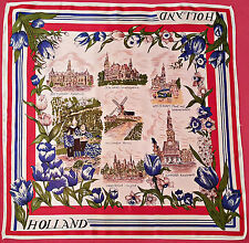 "NETHERLANDS-VINTAGE SOUVENIR HOLLAND CITIES DRAWINGS ACETATE 26"" SQUARE SCARF"