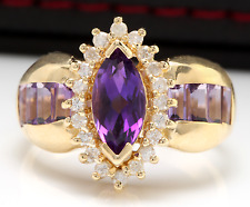 Stunning 3.50Ct Natural Amethyst and Diamond 14K Solid Yellow Gold Ring