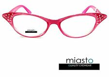 "MIASTO CAT EYE SEXY FUN ""CAT WOMAN"" RHINESTONES READER READING GLASSES+2.00 PINK"