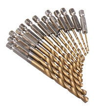 13 tlg. HSS BohrerSatz Bit Titan Stahl Beschichtet Hex 1,5-6,5mm Sechskant ##