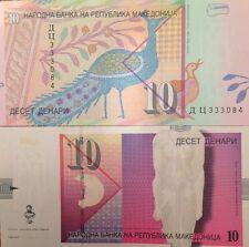MACEDONIA 2006 10 DENARI UNCIRCULATED BANKNOTE P-14 GODDESS ISIDA AND PEACOCK !!