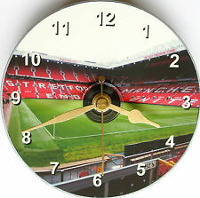 Football cd clock with Manchester United Old Trafford stadium on clock face