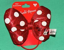 DISNEY PARK MINNIE MOUSE HAIR BOW RED WHITE POLKA DOT PLUSH PONYTAIL HOLDER NEW