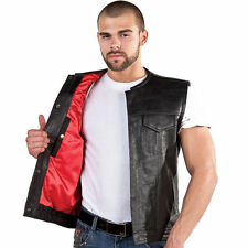 New MEN,S MOTORCYCLE LEATHER OUTLAW MC CLUB BIKER VEST GUN POCKETS