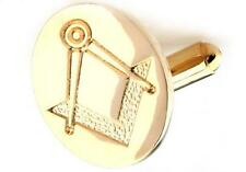 Mason Cufflinks Gold Oval Design Compass Wedding Fancy Gift Box Free Ship USA