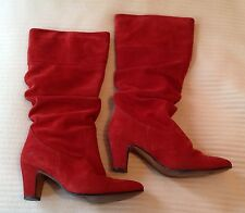 WOMEN'S VINTAGE 80's RED SUEDE SLOUCHED HEELED BOOTS Size 6/39
