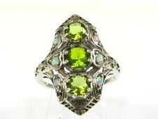 2ctw Round Cut Peridot & Opal Victorian Art Deco Sterling Filigree Ring s7 118a