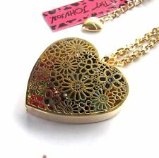 Betsey Johnson Activities Crystal Heart / Flower pendant Necklace#017L