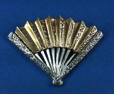 Vintage Nettie Rosenstein Sterling Silver Detailed Fan Fur Clip Brooch Pin