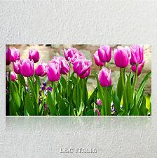 Purple tulips 2 QUADRO MODERNO 90x45 STAMPA TELA TULIPANI FIORI QUADRI ARREDO