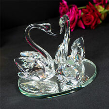 Pair of Swans Clear Crystal Lovers Glass Swan Decoration Solid Ornament Home Dec