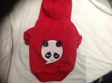 New Pet Dog Medium Moto soft Panda Motif Jacket Red
