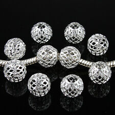 10pcs Mesh Net Round Spacer Big Hole Silver Charm Beads Fit European Bracelet
