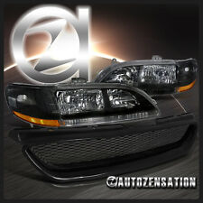 For 98-02 Honda Accord 2DR Coupe Black Headlights+ABS Type Mesh Hood Grille R