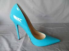 Jimmy Choo AUTH NIB120MM Patent Leather Anouk Pump 37.5 Pop Turquoise Blue