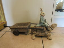 New Unique high end resin Easter Bunny Rabbit on turtle pulling cart decoration