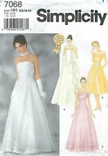 Simplicity 7068 Misses' Evening/Bridal Dress & Overdress 6-12   Sewing Pattern