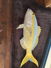 Vintage Wood Fish Sculpture Yellowtail Hand Carved Artist Signed