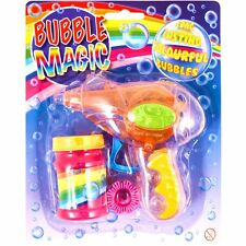 Friction Bubble Gun Toy with Lights! Bubbles Included & NO Batteries Required!
