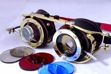 Steampunk goggles with IRIS APERTURE and magnifier Brass LARP Black