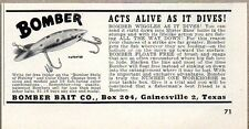 1950 Print Ad Bomber Bait Fishing Lures Acts Alive Gainesville,TX