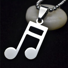 Men Women Silver Chain Stainless Steel Music Note Charm Pendant Necklace Jewelry