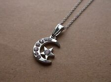 BRAND NEW SILVER PLATED MOON & STAR WITH DIAMANTES GEMS PENDANT NECKLACE