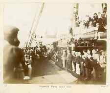 On deck of the ship R.M.S. Tantallon Castle. Obstacle Race over Net  Vintage cit