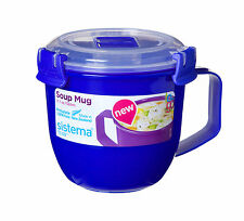 Sistema Royal Blue Klip It Microwave Soup To Go Mug 565ml Clip Lid Lunch Work