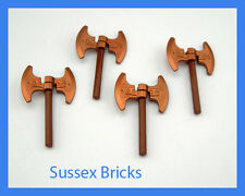Lego 4x Double Headed Dwarf Viking Copper Battle Axes - Castle Hobbit Lord Rings
