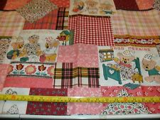 Children's Fabric Vintage Novelty Bears Plaid Patch Check Flowers Cheater BTY