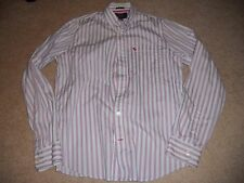 Abercrombie A&F mens Pink Large L muscle button down dress shirt pink white blue