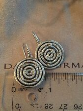 DAVID YURMAN STERLING SILVER AND DIAMOND LABYRINTH CABLE DROP EARRINGS