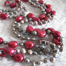 """53"""" 4-11mm Gray Dark Red Baroque Freshwater Pearl Necklace"""