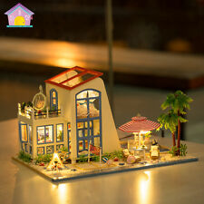 DIY Wooden Dollshouse Miniature Kit w/Lights & Music - Santorini