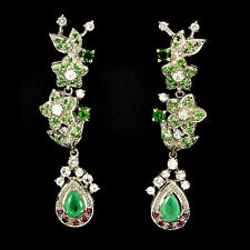 LUXURY REAL EMERALD,CHROME DIOPSIDE, RUBY,TSAVORITE,W. TOPAZ 925 SILVER EARRINGS