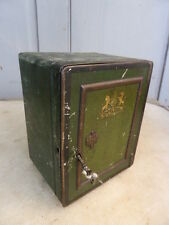 Antique tin moneybox money box in shape of safe + key