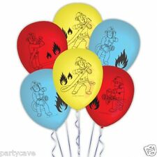 6 X  FIREMAN SAM BIRTHDAY PARTY LATEX BALLOONS HELIUM QUALITY DECORATIONS