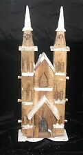 CHRISTMAS LED LIT RUSTIC LARGE SNOWY WOODEN CHURCH INDOOR USE BAT OP 10 LEDS
