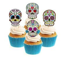 Novelty Sugar Skull Image Mix (3) 12 Edible Stand Up wafer paper cake toppers