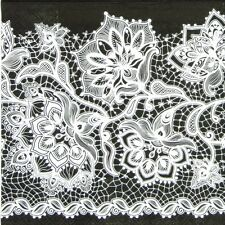 4x Single Table Party Paper Napkins for Decoupage Craft Gloria Lace Neg Black