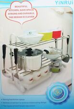 Multi-functional 2 Tier Stainless Steel Dish Rack Kitchen Tool
