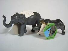 1988 Hard Plastic Animal Toys - Rhinoceros + Elephant NOS NWT