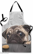 PUG DOG WITH BISCUIT DESIGN APRON KITCHEN BBQ COOKING PAINTING GREAT GIFT IDEA
