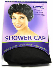 ANNIE SHOWER CAP VINYL WATER RESISTANT PROTECT HAIR EXTRA LARGE BLACK (#4467)