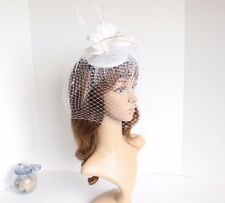 2015 Church Derby Wedding Sinamay w Feathers & Veil Fascinator Cocktail White533