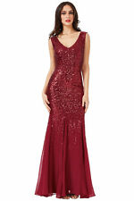 Ladies Long Sequin Chiffon Evening Maxi Party Dress Ball Gown Womens All sizes