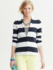 NWT Banana Republic Women's Rugby-Stripe Blazer, XS, Navy Blue/White Stripes #7f