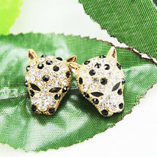 NEW fashion lovely Plating 14 k inlay zircon leopard head  Stud earrings  EA163
